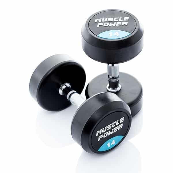 Dumbbell rubber rond 14kg Muscle power