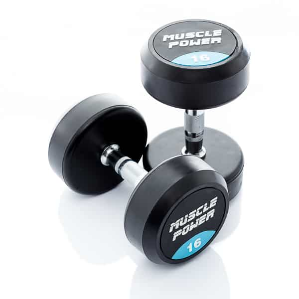 Dumbbell rubber rond 16kg Muscle power