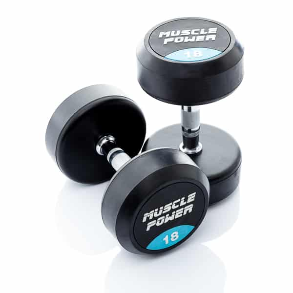 Dumbbell rubber rond 18kg Muscle power