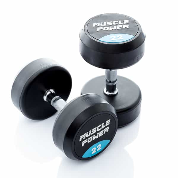 Dumbbell rubber rond 22kg Muscle power