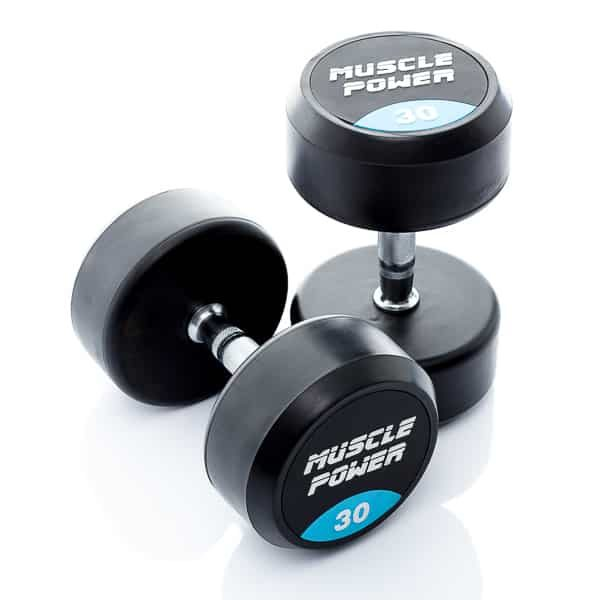 Dumbbell rubber rond 30kg Muscle power