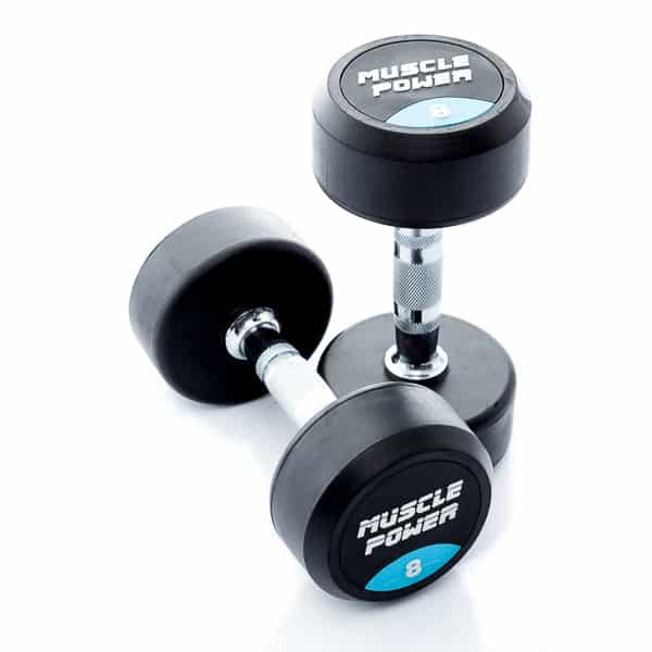 Dumbbell rubber rond 8kg Muscle power